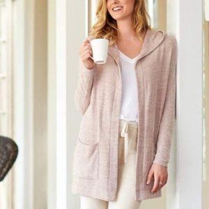 Barefoot Dreams Cozychic Lite Hooded Pink Cardigan